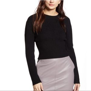 4SI3NNA Ribbed Crop Crewneck Black Sweater